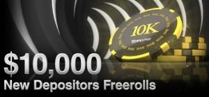 $2,500 New Depositors Freerolls. Каждый новый игрок, сделавший депозит, получает 4 бесплатных билета на турнир, в котором можно выиграть хорошие деньги при том абсолютно бесплатно. Турнир проводится в последний четверг каждого месяца.